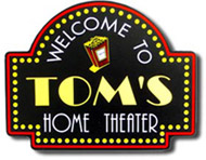 Home Movie Theater Cinema Popcorn Sign